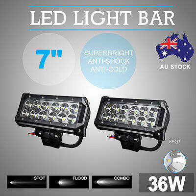 2X 7Inch 36W CREE LED Work Light Bar Spot Beam Offroad ATV UTE  Driving Lamp 4WD
