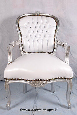 Baroque armchair Louis XV style white leather look/silver