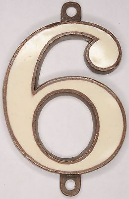 Old bronze enamel inlay English house number 6 9 door gate plate plaque sign