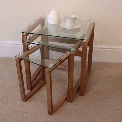 Set of 3 Tables with Oak Legs Nesting Furnishing Glass Contemporary Modern