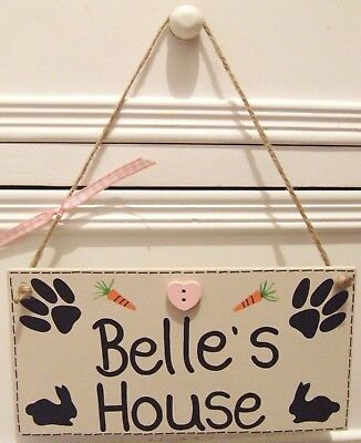 Handmade Personalised Plaque Sign Pet Rabbit Shabby Chic Hutch Cage Home Gift