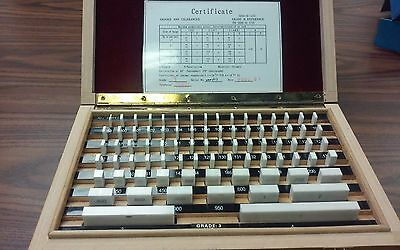 81 PCS/SET CERAMIC GAGE BLOCK, GRADE 3 (A-) W. MANUFACTURER'S CERTS.-new