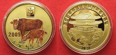 KOREA 20 Won 2009 Lunar YEAR OF THE OX brass COLORED Proof # 94946