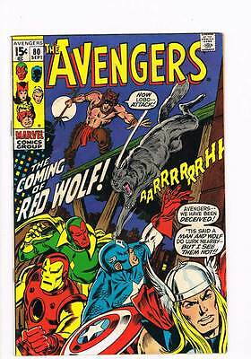 Avengers # 80  First Appearance / Origin of Red Wolf !  grade 5.0 scarce book !