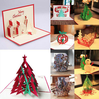 Chic 3D Pop Up Handmade Merry Christmas Multi-style Greeting Cards Show Blessing