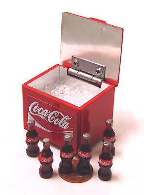 1:12 Scale Coca Cola Cooler Box With 6 Bottles & Ice Dolls House Coke Pub Drink