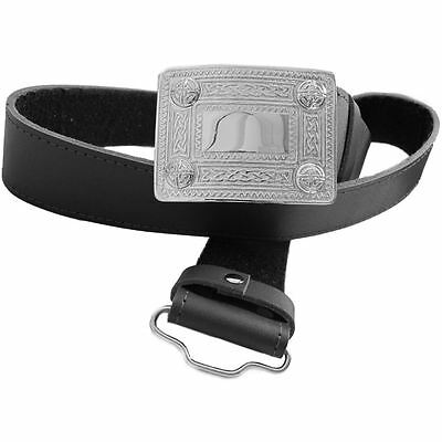 Mens Tartanista Scottish Black Leather Kilt Belt & Buckle - S to 3XL