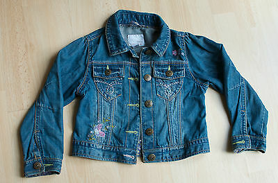 Girls NEXT Denim Jeans Jacket with Embroidered Butterfly Detail Size 5-6 Years