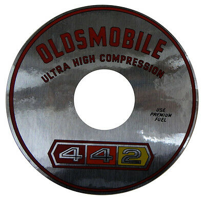 """1965 1966 1967 Oldsmobile """"442 Ultra High Compression"""" Air Cleaner Decal"""