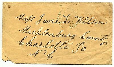RALEIGH NC AUG 20 1861 68xu1 on cover to Miss Jane L Wilson Charlotte NC