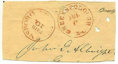 GREENSBOROUGH JUL 6 186x 32xu1 RED Provisional on large piece to John Albright