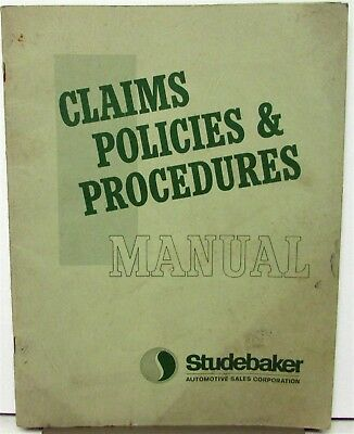 1966 Studebaker Dealer Item Only Claims Policies & Procedures Manual Original