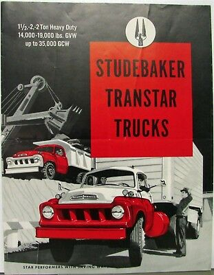 1958 Studebaker Transtar 1 1/2- 2- 2HD- Ton Trucks 3E28 3E38 3E40 Sales Folder