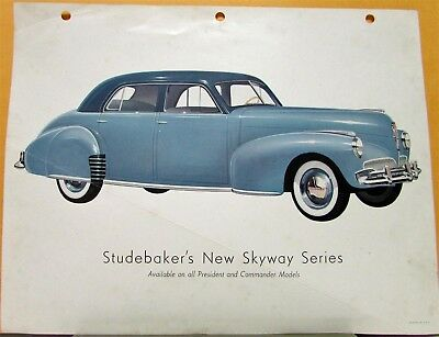 1941 Studebaker Skyway Series President & Commander Models Dealer Pg Color Orig