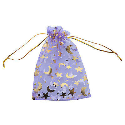 50x Purple Moon&Stars Organza Wedding Pouch Bags Fit Packaging Gifts Lots BS