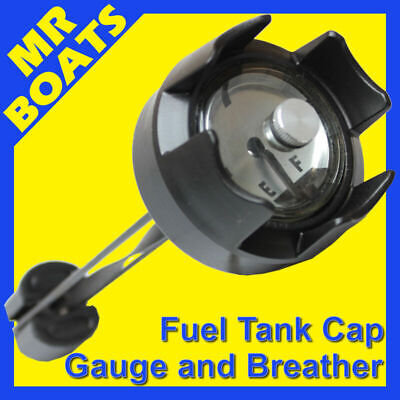 Outboard Fuel Tank Cap - W/ Gauge + Breather - Suits 12, 22, 24, 25Lt Free Post