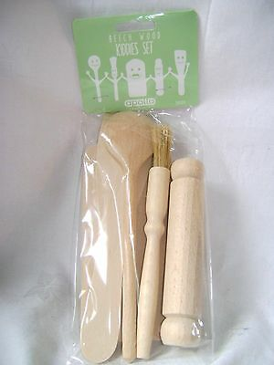 New 5 Piece Kids Wooden Utensil Set Childrens Cooking. Apollo Bagged