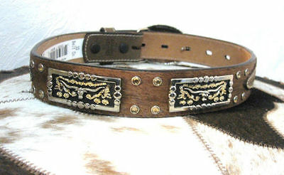 Kid's 3D Western Leather Belt Unisex Tan with Brindle Hair Rodeo Longhorn concho