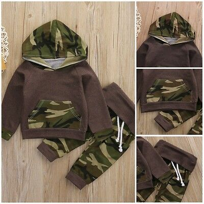 Cute Infant Kids Baby Boys Camouflage Hooded Tops Pants 2Pcs Outfits Set Clothes