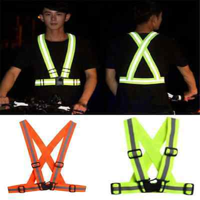 Reflective Safety Security High Visibility Adjustable Vest Gear Stripes Jacket F