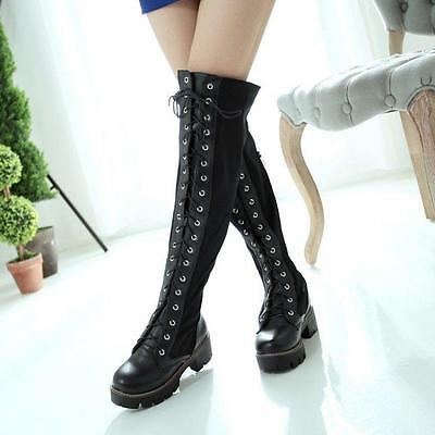 Punk Women's Block Heel Lace Up Over Knee Thigh High Riding  Boot Plus Size Shoe