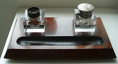 Vintage Ink Well On Wooden Stand with 2 glass ink wells