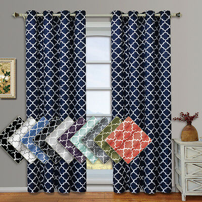 "Meridian Thermal Insulated Blackout Grommet Curtains (Set of 2) 104W x 84""L"