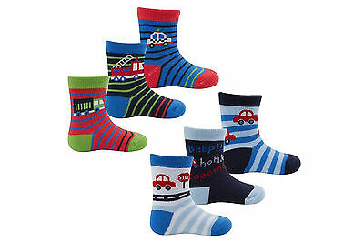 New Childrens baby boys colourful blue 3 pack socks 0-24 months cars trucks