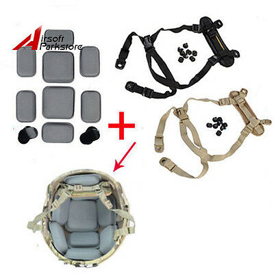 Military MICH ACH Helmet Retention System H-Nape Strap + Protection Cushion Pads