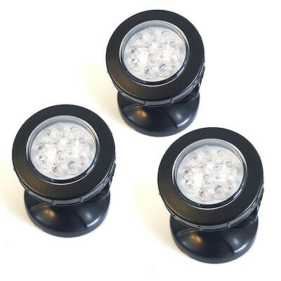 Garden Fountain Pool Pond Lighting Spotlight Underwater 3 Lights - 12 LED's each