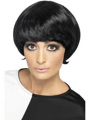 60s Black Psychedelic Wig Ladies 1960s Fancy Dress Mod Accessory