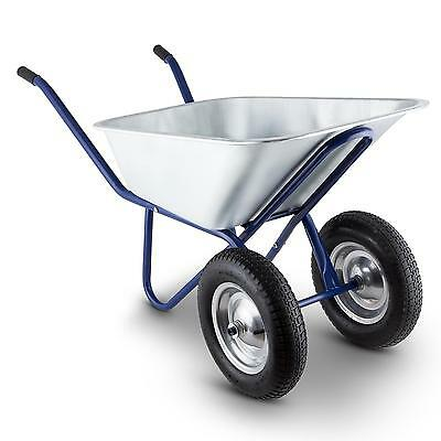 Waldbeck 2 Wheeled Wheelbarrow 120 L Max 320 Kg Load Garden Farm Hand Cart Blue