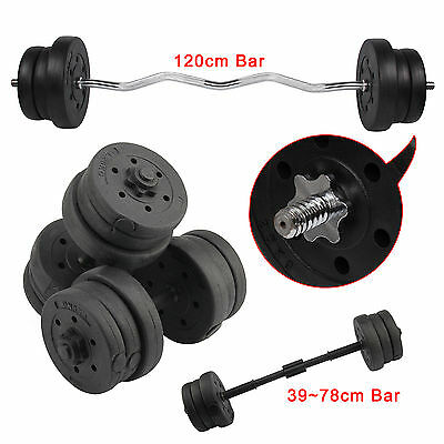 20KG Dumbbell & 25KG Barbell Set & Curl Bar Weight Training Lifting Gym Fitness
