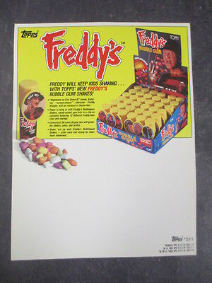 Vintage Topps Freddy's Bubble Gum Selling/sell Sheet Dealer Only