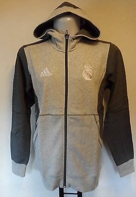 Real Madrid Grey Fz Hoody By  Adidas Size Adult Large Brand New With Tag