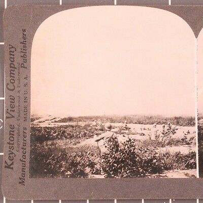 WWI Stereoview card:  Explosions in front of the French Trenches