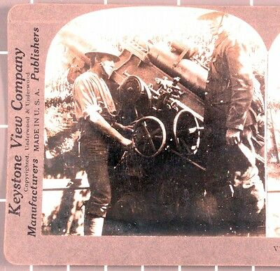 WWI Stereoview card:  British 9.2 in. Howitzer (artillery) in Action