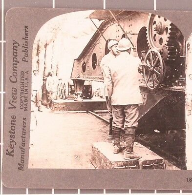 WWI Stereoview card:   French Railway Artillery Gun