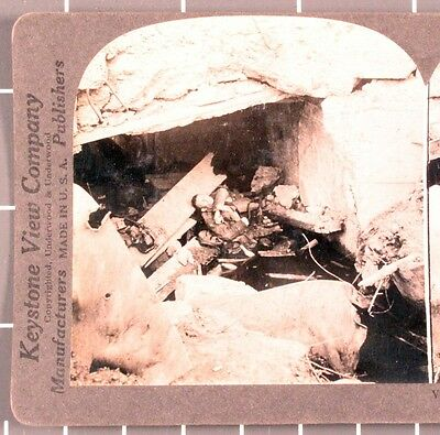WWI Stereoview card:   Unknown Causality in Destroyed Blockhouse