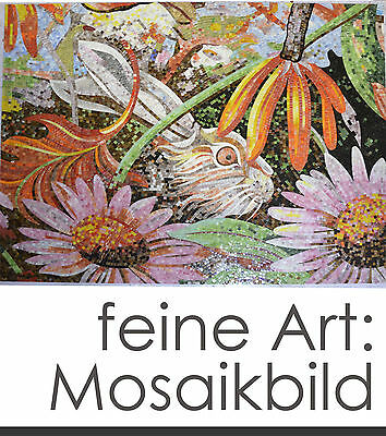 """FINE MOSAIC IMAGE """"RABBIT IN THE FLOWER BED"""" 200x160 cm 3.2m² 35.000 STONES"""