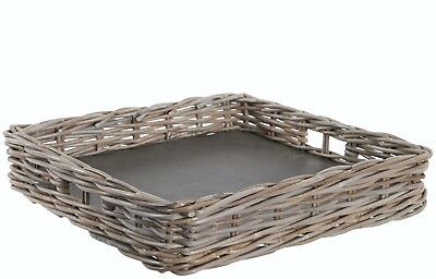 Large Grey Wash Rattan Wicker Square Serving Tray TBS23223