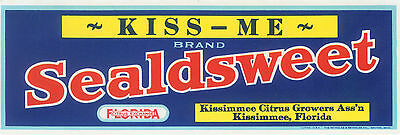 GENUINE FLORIDA ORANGE CRATE LABEL KISS ME ROMANCE KISSIMMEE VINTAGE VALENTINE