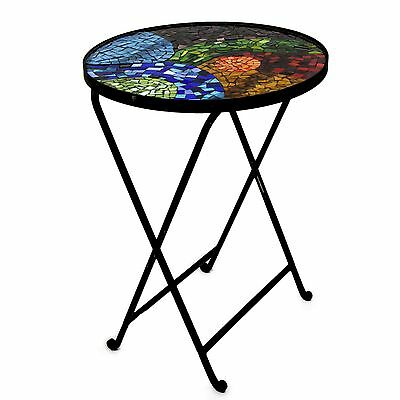 LANDSCAPE MOSAIC Mexican Stained Glass & Iron TABLE ART