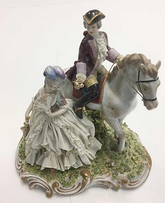 A Fine Signed Capodimonte figure group of courting couple Lady & Horse Ref DD
