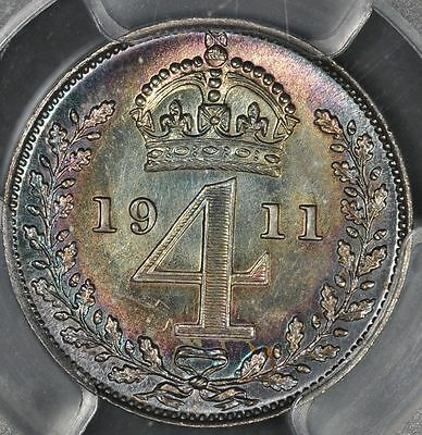 1911 4 Fourpence Great Britain Pcgs Pl64 Groat Maundy Fourpence Coin S-4016 Uk