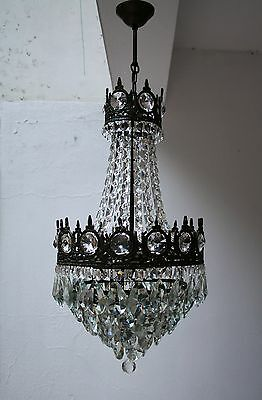 Antique French Basket Style Brass & Crystals Bronze Tone Chandelier from 1950's