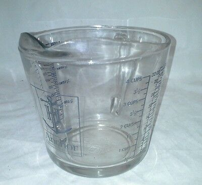Anchor Hocking Company Large 4 Cup 1 Litre Glass Measuring Cup Vintage USA 11