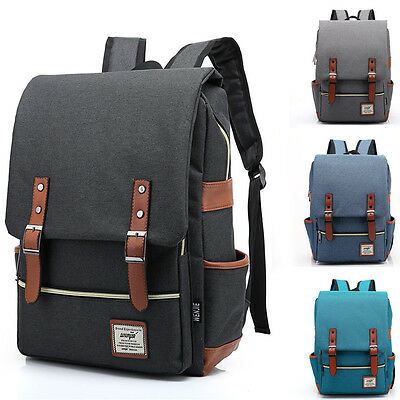 Mens Canvas Backpack School Laptop Travel Rucksack Satchel Shoulder Bag Colors