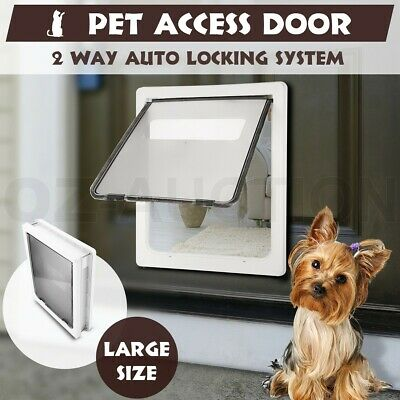 Extra Large 2 Way Lockable Locking Pet Safe Security Brushy Dog Cat Flap Door