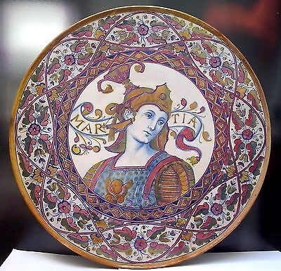 19th Century Italian Majolica Lustre Charger Signed by Alfredo Santarelli